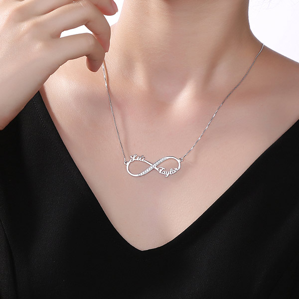 Custom Infinity 2 Names CZ Necklace Sterling Silver