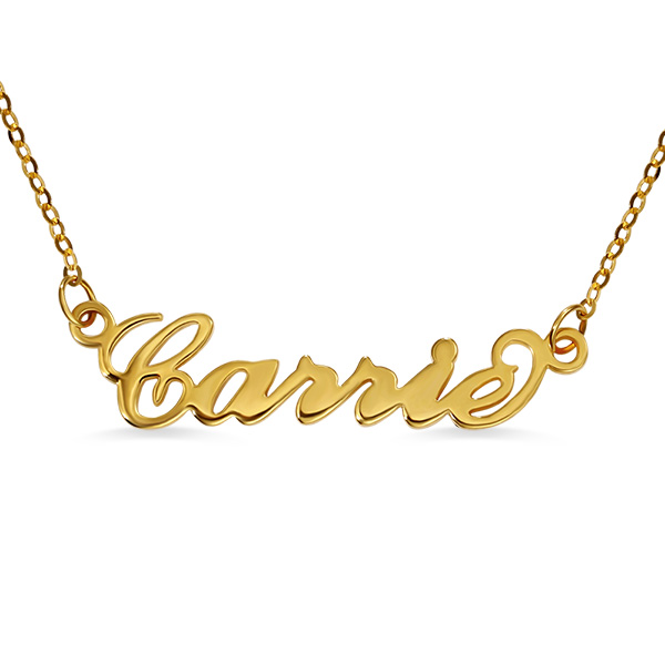 aec88fd742a2de Personalized Carrie Name Necklace Solid Gold 10K/14k/18K. $ 291.90 $ 145.95