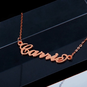 Personalized Carrie Name Necklace Solid Rose Gold