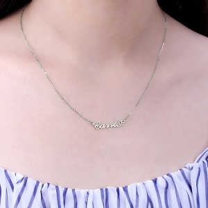 Stylish Personalized Carrie Name Necklace Solid White Gold
