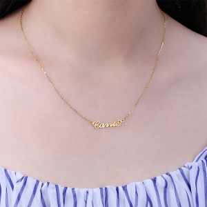 Personalized Carrie Name Necklace Solid Gold 10K/14k/18K