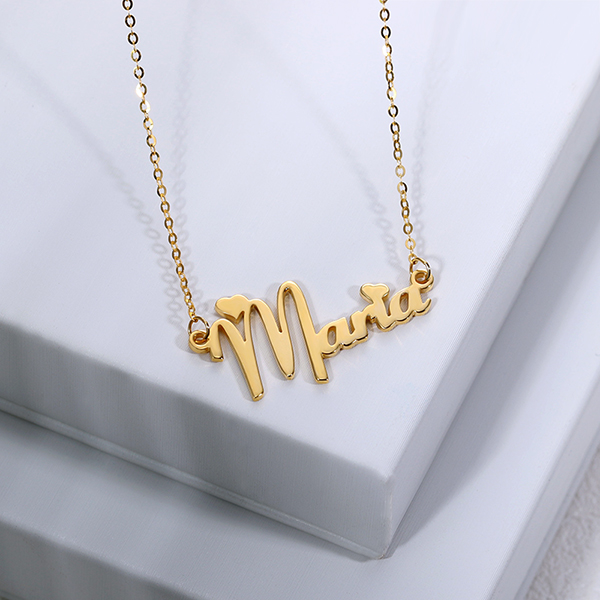 1a674308bde3e Personalized Solid Gold Fiolex Girls Font Heart Name Necklace