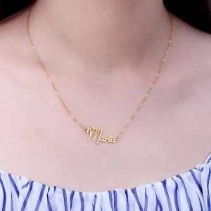 Personalized Solid Gold Fiolex Girls Font Heart Name Necklace