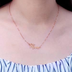Solid Rose Gold Fiolex Girls Fonts Heart Name Necklace
