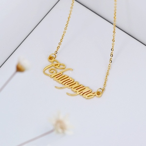 Solid Gold Personalized Champagne Font Name Necklace