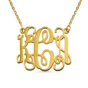 Solid Gold Personalized Monogram Necklace 10K/14K/18K