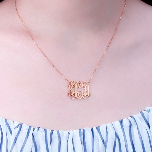 Solid Rose Gold Personalized Monogram Necklace 10K/14K/18K