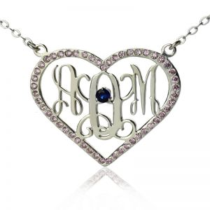 Sweet 16 Gift: Heart Birthstone Monogram Necklace