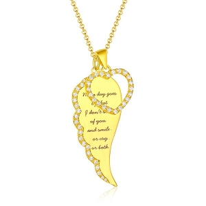 Personalisierte Engelsflügel Herz Halskette in Gold