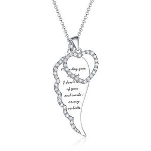 Personalisierte Engelsflügel Herz Halskette in Silber