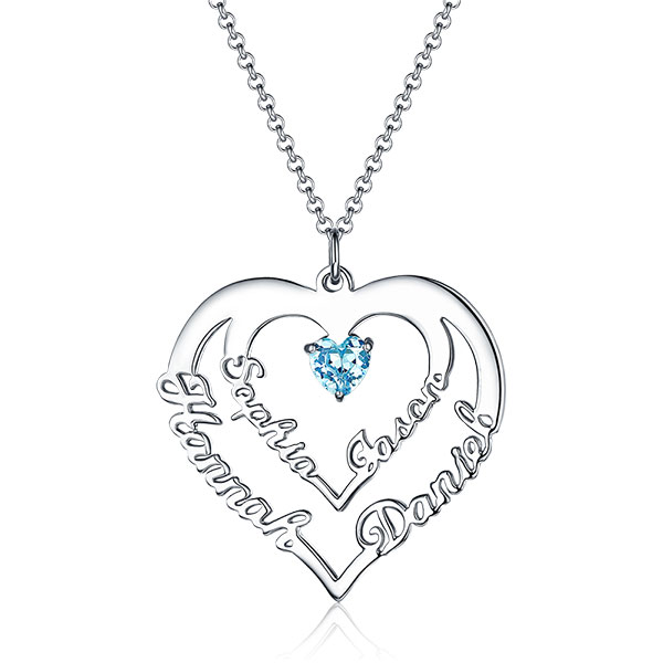 d900bed3f46186 Personalized Heart Necklace with 4 Names & Birthstones in Sterling Silver.  $ 113.90 $ 56.95