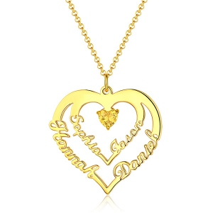 Impressive Personalized Heart Necklace with 4 Names & Birthstones in Gold