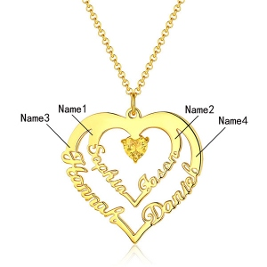 Personalized Heart Necklace with 4 Names & Birthstones in Gold