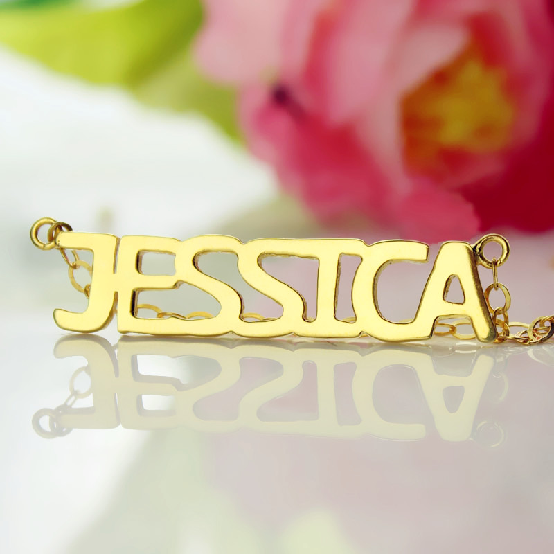 Block Letter Name Necklace In Gold Quot Jessica Quot