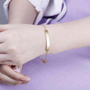 Custom Morse Code Bracelet In Gold