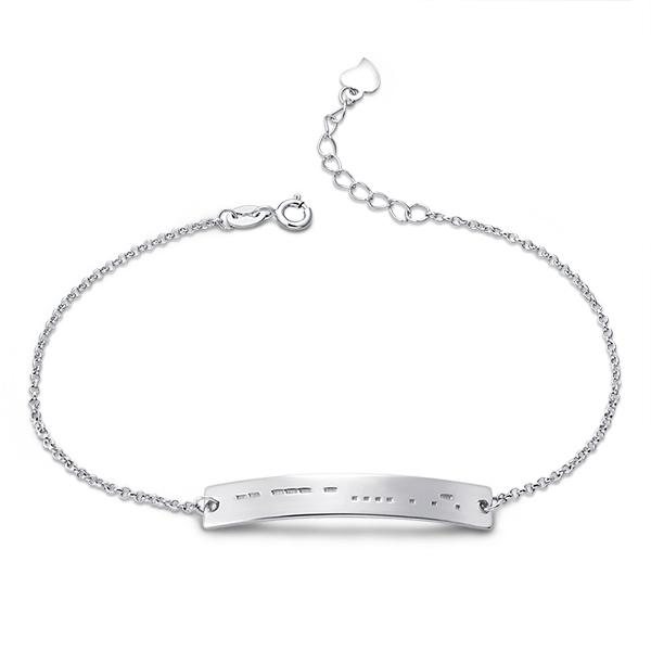 Custom Morse Code Bracelet Sterling Silver