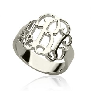 Personalized Sterling Silver Monogram Ring Hand-drawn Font