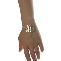 Personalized Monogram Mother's Bangle Bracelet Sterling Silver