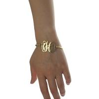 18K Gold Plated Monogram Initial Bracelet 1.25 Inch