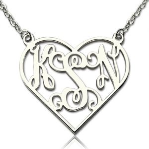 Heart Monogram Necklace Sterling Silver