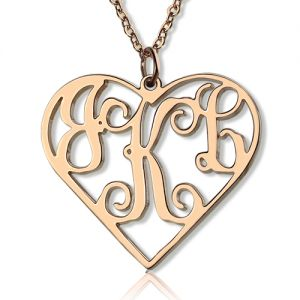 Rose Gold Heart Monogram Pendant Necklace 3 Initials