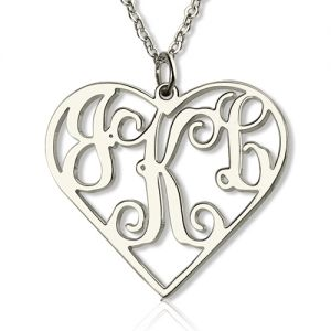 Solid White Gold Initial Monogram Personalized Heart Necklace