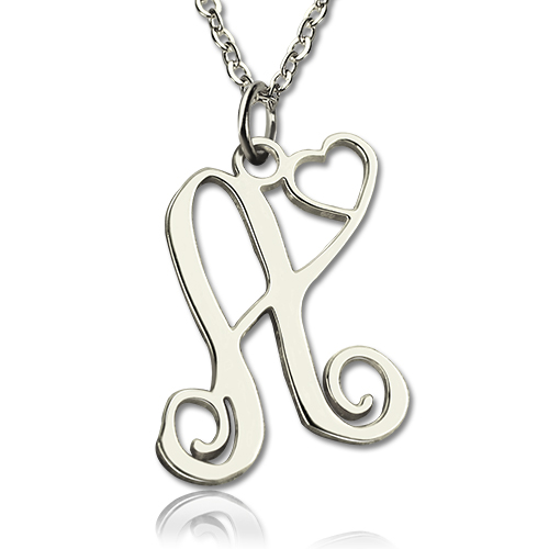one initial with heart monogram necklace solid white gold. Black Bedroom Furniture Sets. Home Design Ideas