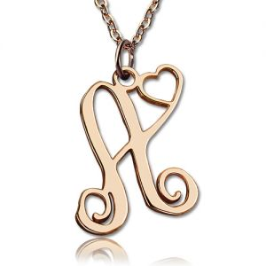 One Initial With Heart Monogram Necklace Solid Rose Gold