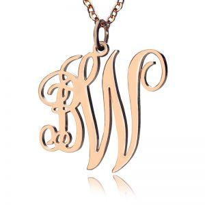 Personailzed 2 Initial Monogram Necklace Rose Gold