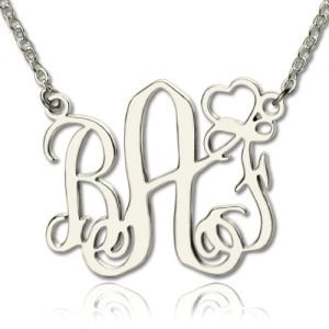 Stylish Personalized Initial Monogram Necklace With Heart Sterling Silver