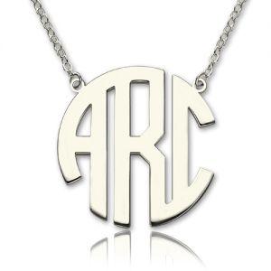 Solid White Gold Initial Block Monogram Pendant Necklace