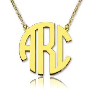 Superior Solid Gold Initial Block Monogram Pendant Necklace-10K