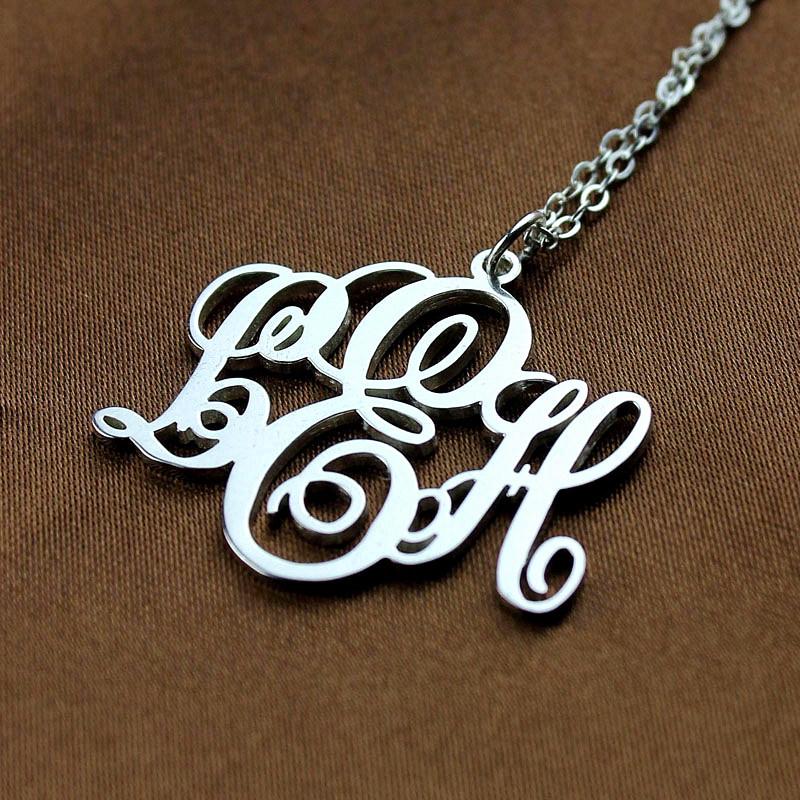 Personalized vine font initial monogram necklace silver aloadofball Images