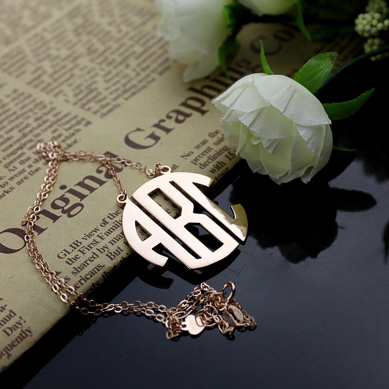 a50a0876f Rose Gold Initial Block Monogram Pendant Necklace. $ 48.32 $ 38.66