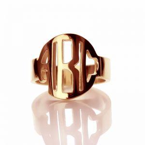 Rose Gold Block Monogram Initial Design Ring