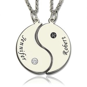 Yin Yang Mother Daughter Necklaces Set with Name & Birthstone