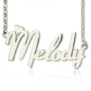 Personalized Sterling Silver Fiolex Girls Fonts Heart Name Necklace