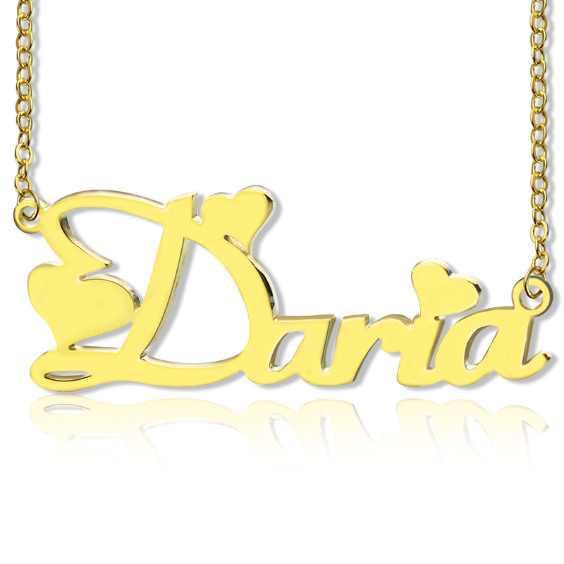 Personalized Gold Fiolex Girls Fonts Heart Name Necklace