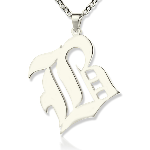 Personalized initial letter charm old english sterling silver aloadofball Image collections