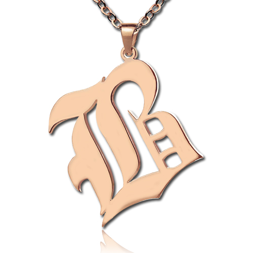 Rose gold plated silver retro english style initial necklace aloadofball