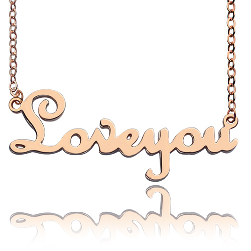Solid Rose Gold French Font I Love You Name Necklace