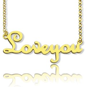 Personalized Cursive Name Necklace 18K Gold Plated