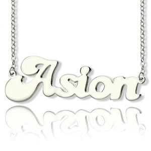 Custom Banana Split Script Style Name Necklace Sterling Silver