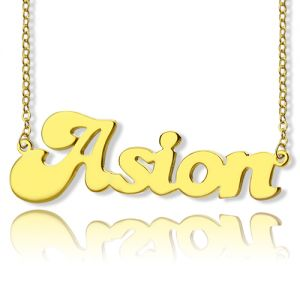 Banana Split Script Name Necklace 18K Gold Plated