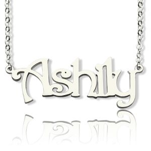 Solid White Gold Harrington Font Name Necklace