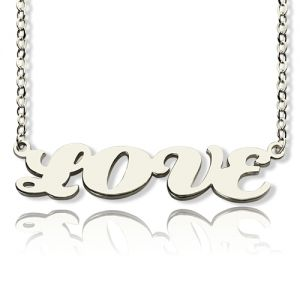 Solid White Gold Capital Puff Font Name Necklace