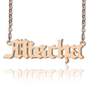 Rose Gold Old English Style Name Plate Necklace