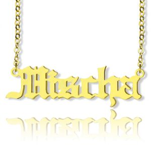 Mischa Barton Old English Font Name Necklace Solid Gold 10k 14k 18k