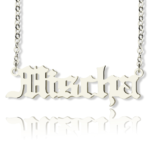 d39940311 Mischa Barton Style Old English Font Name Necklace Solid White Gold