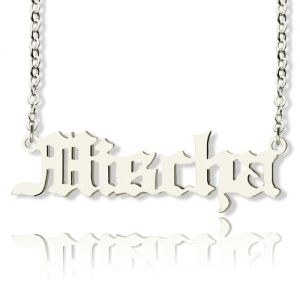 Mischa Barton Style Old English Font Name Necklace Solid White Gold